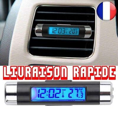 2 en 1 Car LCD r/étro-/éclairage du v/éhicule Automobile Thermom/ètre Horloge Affichage du Calendrier Voiture Air Vent Sortie Clipser Horloge