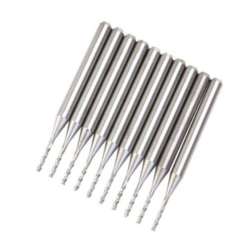 10pcs Tungsten Carbide PCB Cutter End Mill CNC Router Bits 1mm Cutting Dia R