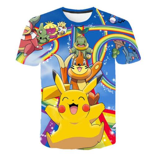 Girl Boys Kids Child T-Shirt 3D Print Short Sleeve Tee Top Cartoon Pokemon