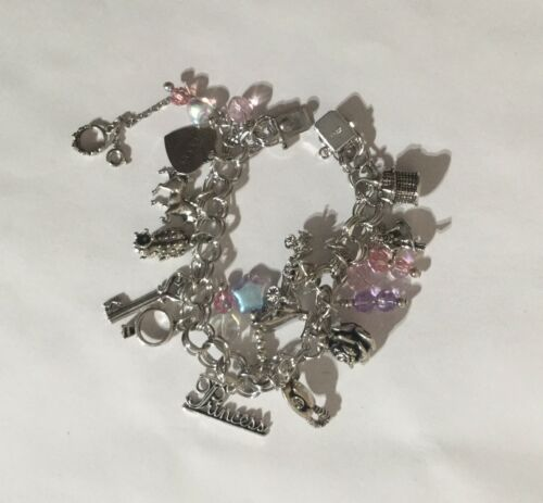 Sterling Silver & Crystal Fairytale Multi Charm Br
