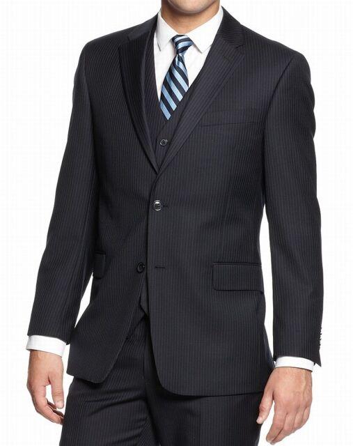 Tommy Hilfiger Men Blazer Navy Blue Size 40 Pinstriped Two-Button Wool $400 #151