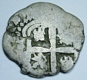 1740 Lima Peru Spanish Silver 1 Reales Antique Colonial 1700's Pirate Cob Coin