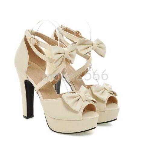 Femmes Noeud Block Heels Sweet Peep Toe Cross Bride Plateforme Sandales Chaussures SZ