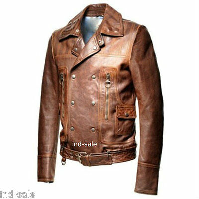 Custom Tailor Made Distressed Leather Jacket Biker Designer Oil Pull Motorcycle