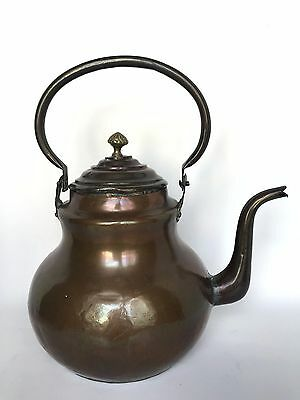 "Vintage Large Rustic Primitive Solid Copper Tea Kettle 13"" Tall"