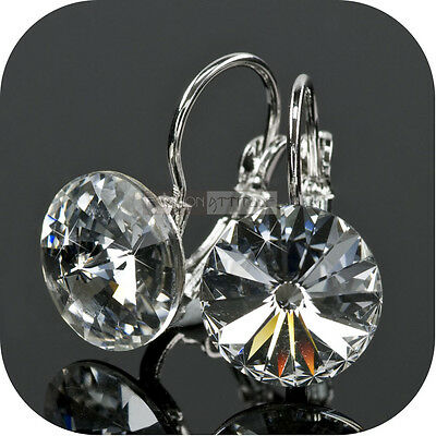 18k white gold gp made with SWAROVSKI crystal lady wedding party stud earrings