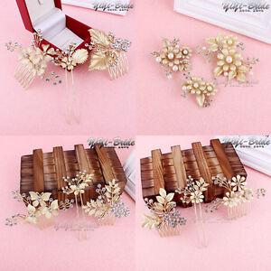 Women-Wedding-Bridal-Pearl-Crystal-Gold-Flower-Leaf-Hair-Pins-Clips-Hair-Comb