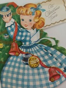 50s-Vtg-GINGHAM-Dress-GIRLS-3-Full-Images-Decorate-Tree-CHRISTMAS-GREETING-CARD