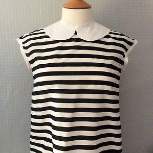 Striped-white-amp-black-Peter-Pan-collar-button-back-cap-sleeve-blouse