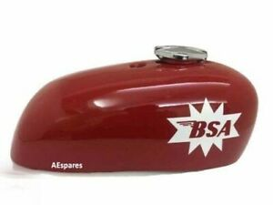 Fits BSA A65 Spitfire Hornet 2 Gallon Red Painted Steel Petrol Tank + Cap ECs