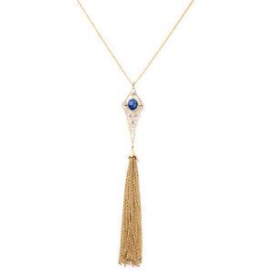 Collar-Colgante-Largo-collar-Pompon-Dorado-Art-Deco-Azul-Fino-Original-DDZ-1