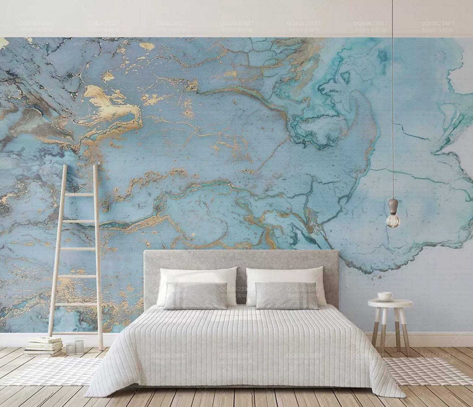 3D Blau Watercolor 3 Wall Paper Exclusive MXY Wallpaper Mural Decal Indoor wall