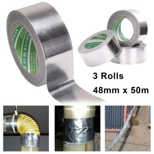 3X Aluminium Foil Tape Roll Self Adhesive Insulation Reflective Duct 48mmx50m