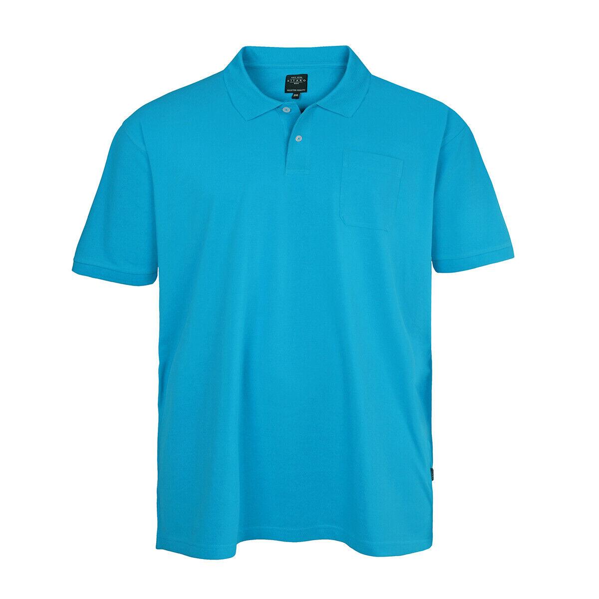 Kitaro Basic Piqué Poloshirt azurblue Übergröße