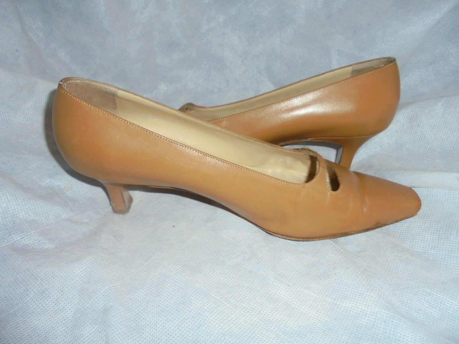 SALVATORE FERRAGAMO Damenschuhe TAN LEATHER SLIP 5 ON SHOE SIZE UK 5 SLIP EU 38 us 8 VGC 143597