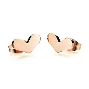 Cute-Smooth-Flat-Heart-Rose-Gold-GP-Surgical-Stainless-Steel-Stud-Earrings-Gift