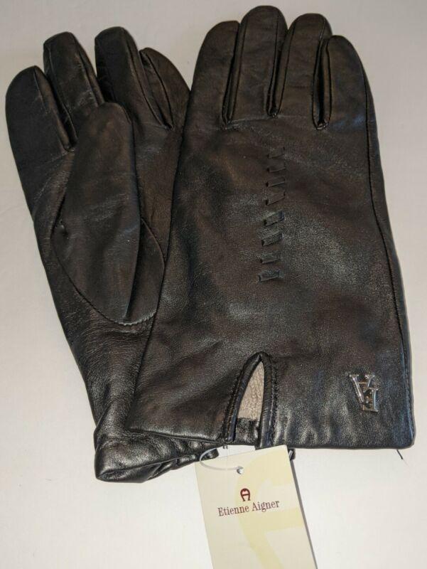 Temperate Ladies Aigner Leather Gloves,black, Xlarge