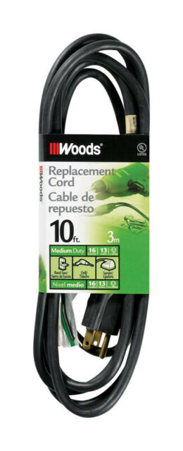 Woods 14 3 Sjew 125 Volt 10 Ft L Replacement Power Cord For Sale Online Ebay