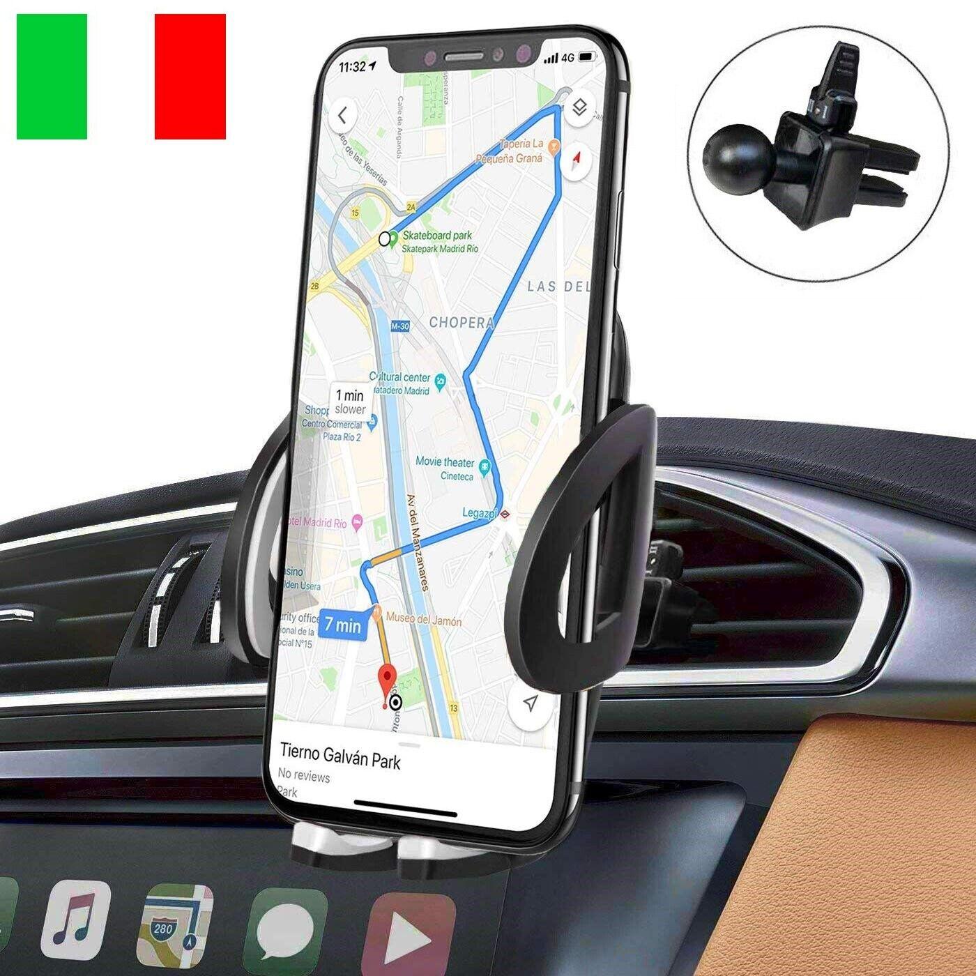 iAmotus Porta Cellulare Auto Universale Supporto Smartphone Bocchette Regolabile Rotazione di 360 Gradi per Telefoni iPhone X 8 7 6S 6 Plus 5 5S// Samsung Note Galaxy S8 S7 Edge Huawei//Sony// LG e GPS