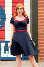 PINUP COUTURE BLUE RED PETER PAN COLLAR RETRO ROCKABILLY DOROTHY SWING DRESS XL