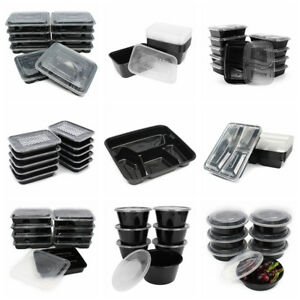 10-50pc-Microwavable-Meal-Prep-Container-Plastic-Food-Storage-Reusable-Lunch-Box