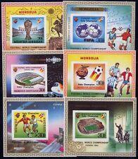 Mongolia Mongolia 1982 manzanas fútbol WM Soccer italia seda Silk (6) ** rar