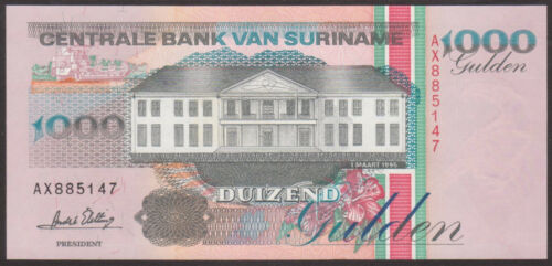 SURINAME P 141b  Uncirculated Banknotes 1000 GULDEN  1995 Prefix AX