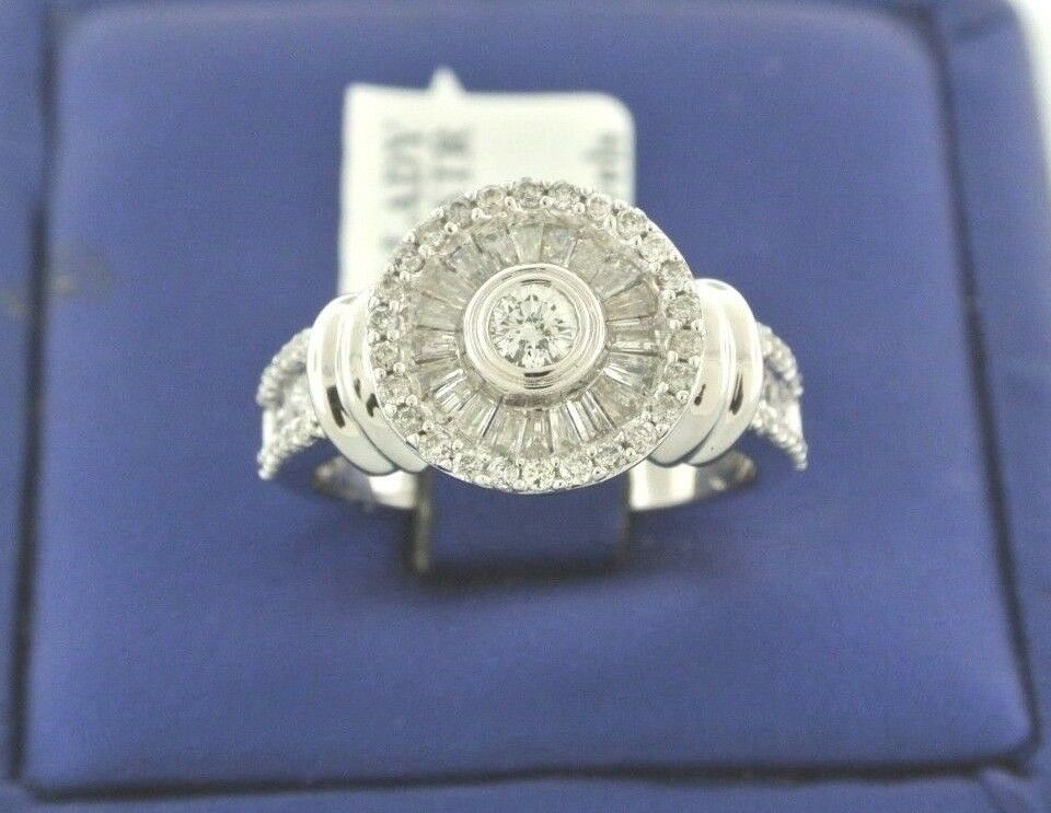 14k White gold 1.00 CT Round & Baguette Diamond Cluster Engagement Ring, S13775