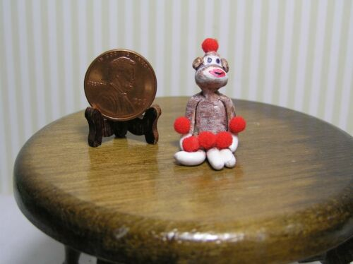 """Miniature Dollhouse Toy Sock Monkey 1/"""" high"""