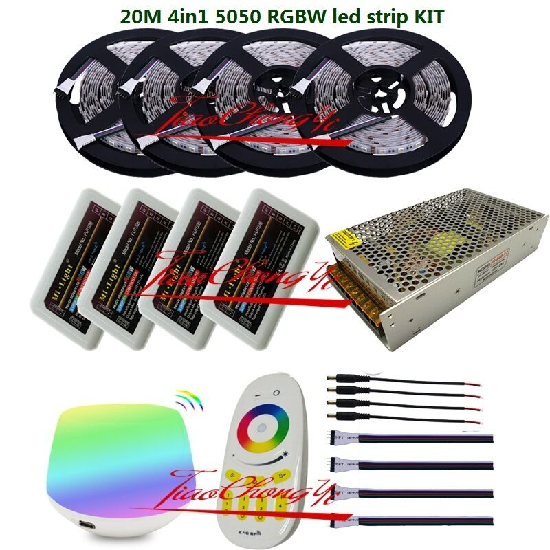 5-20M 5050 4 in1 300led RGBW led strip+4 zone Remote controller+ WiFi controller