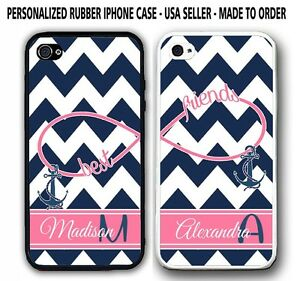 NAVY CHEVRON PINK STRIPE ANCHOR BFF Best Friends CASES For iPhone 6S 6 5S 5 5C 4