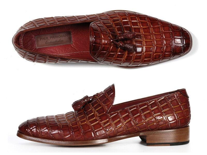 Paul Parkman Men's Marronee Crocodile Embossed Calfskin Tassel Loafer scarpe