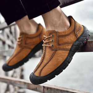 Men-Leather-Breathable-Shoes-Lace-up-Outdoor-Casual-Moccasin-Driving-Oxfords-NEW