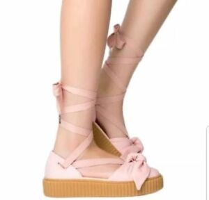 FENTY PUMA RIHANNA pink leather bow lace up tie creeper wedge shoes ... f5b028a86