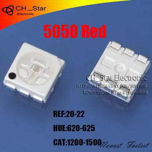 1000pcs-5050-2220-PLCC-6-Red-Light-SMD-SMT-3-CHIPS-Ultra-Bright-LED