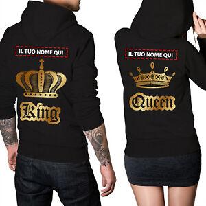 Personalizza-con-il-vostro-Nome-Coppia-di-Felpe-King-amp-Queen-Oro-con-Cappuccio