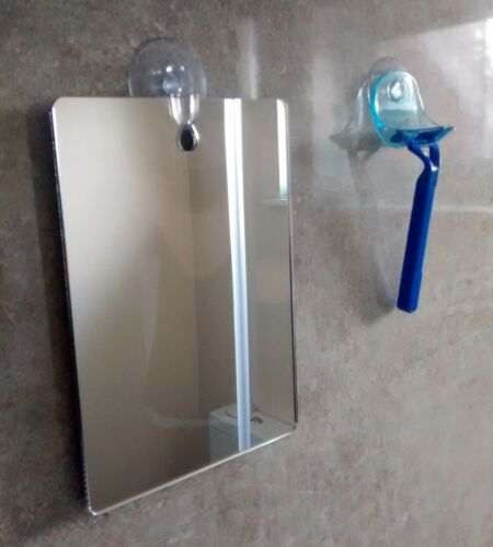 X LARGE Shower Shaving Mirror,Strong Safe Shatter Proof-Travel-Camping FREE Hook