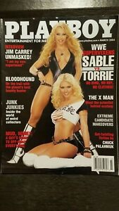 Vintage-March-2004-Playboy-issue-WWE-039-s-Sable-vs-Torrie-in-strip-off-EX-NM