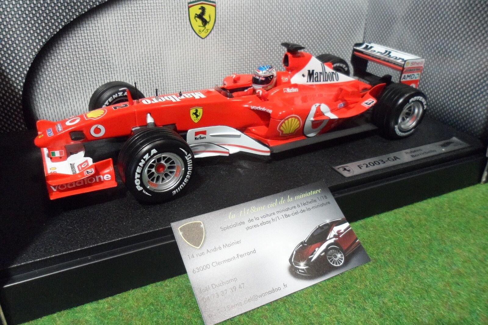 F1 FERRARI F2003 GA R. BARRICHELLO SPONSOR MARLBor au 1 18 HOT WHEELS formule 1