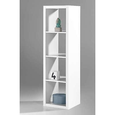 Libreria Moderna Scaffale Per Ufficio Con 4 Scomparti Ripiani Bianca