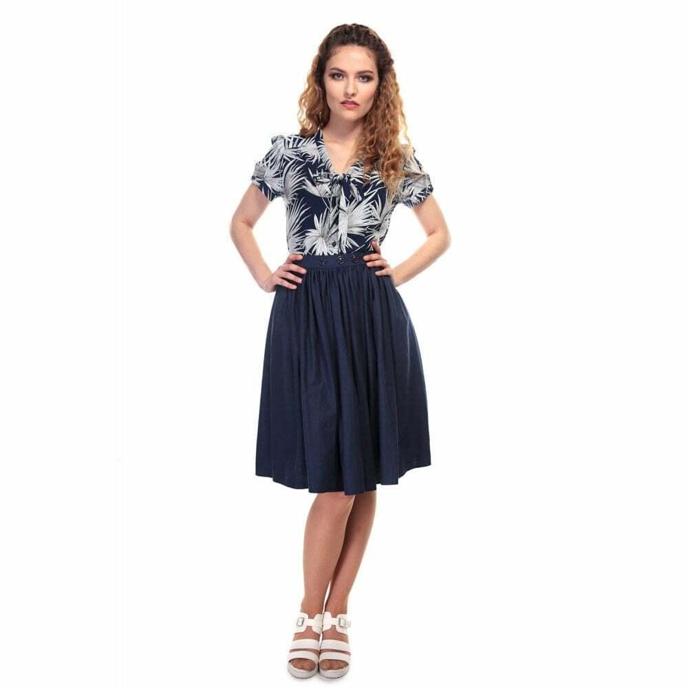 Collectif Vintage Talis Plain Swing Skirt Navy UK8