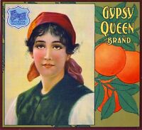 Riverside Gypsy Queen Orange Citrus Fruit Crate Label Art Print