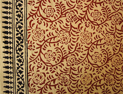 Hand Block Print Cotton Fabric Natural Dyes. 2½ Yards Vine and flowers Beige