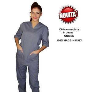 Divisa Completa da Lavoro,Sanitaria,in Tessuto Jeans,Unisex,Taglio Morbido,Made