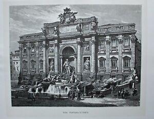 Rom, Roma, Italia - Fontana di Trevi - Stich, Holzstich 1885