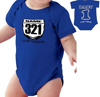MOTOCROSS BABY NUMBER PLATE ONE PIECE SHIRT INFANT MX JUST RIDE RED HONDA CR CRF