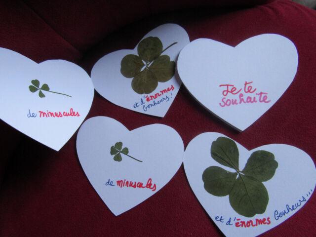 personnalisez votre bonheur : carte avec 1, 2 ou 3 trèfle à 4 feuilles XXL+ M+ S