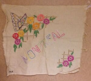 "Vintage 1920's Embroidery piece ""Montreal"" Canada floral butterfly"