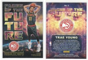 TRAE-YOUNG-Gold-Parallel-Faces-of-the-Future-2018-19-Hoops-Rookie-Card-RC-Hawks