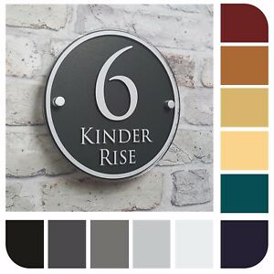 Modern House Sign Address Door Plaque Property Name Plate Round